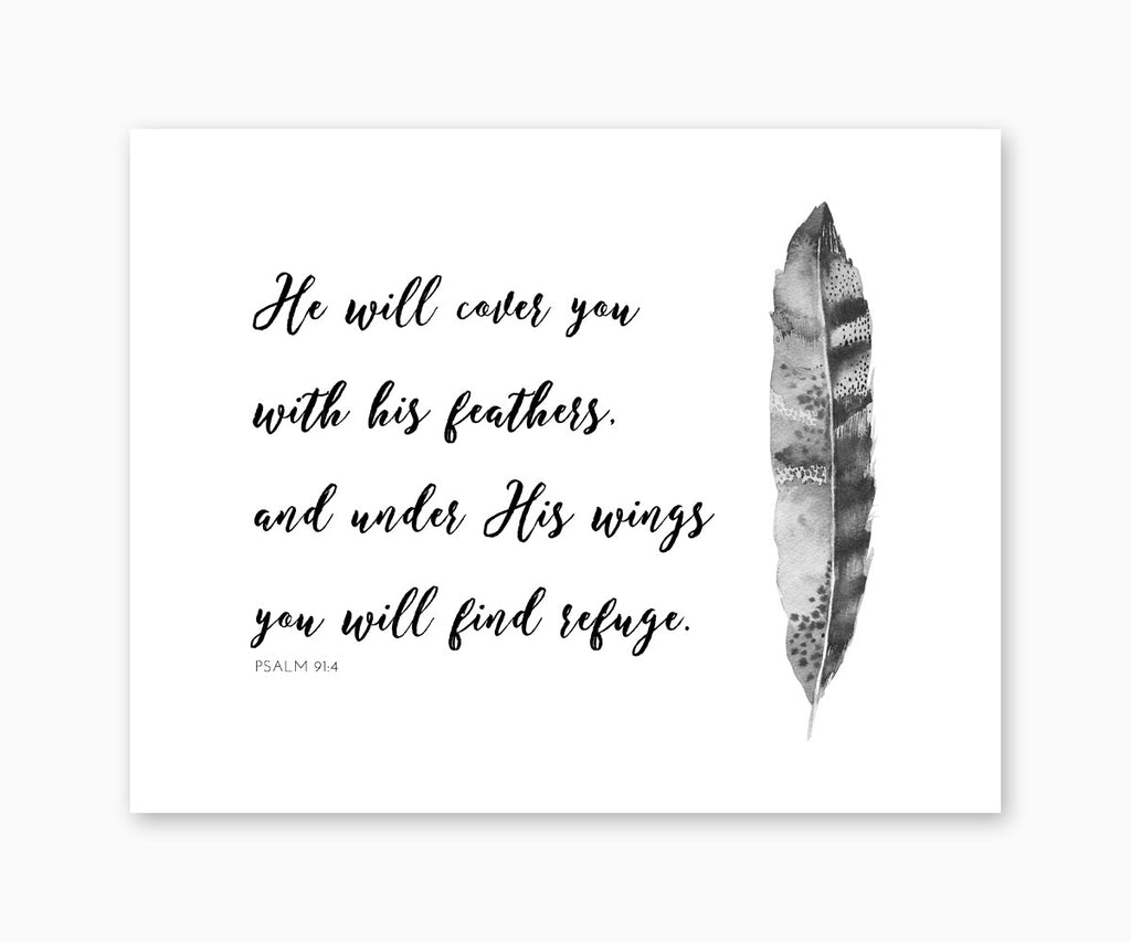 Psalm 91:4 Bible Verse Wall Art, He Will Cover You With His Feathers, Black & White Tribal Feather