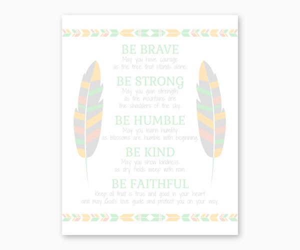 Tribal Nursery Wall Art Print, Be Brave Poem, Pastel Southwest Colors