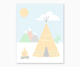 Teepee and Mountains Tribal Nursery Wall Art  Pastel