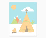 Teepee and Mountains Tribal Nursery Wall Art Southwest