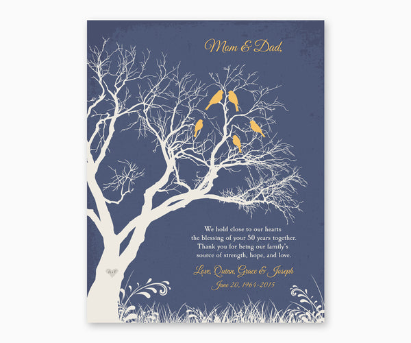 Love birds in anniversary family tree with initial hearts on blue background