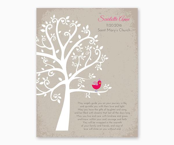 Personalized Baptism or Christening Tree with Baby Bird Girl