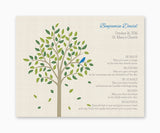Baby Bird in Tree Baptism or Christening Personalized Wall Art