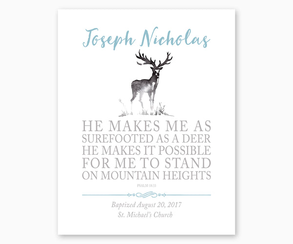 Personalized Baptism Print Psalm 18:33 He Makes Me As Surefooted As A Deer