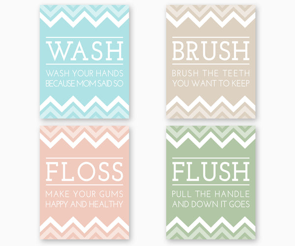 Bathroom rules Wash Brush Floss Flush, color set D
