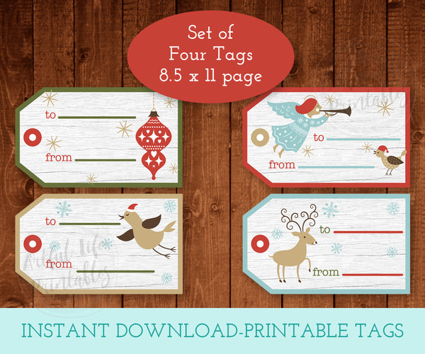 Festive Christmas Gift Tags, Printable Digital Christmas Tags