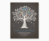 Grandma and Grandpa's Blessings, Love Birds Family Tree Wall Art, blue type