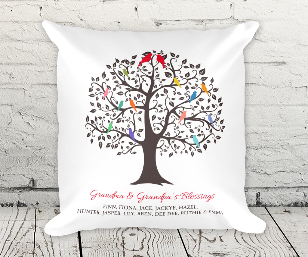 Grandchildren Family Tree Pillow With Names Gift for Grandparents, Grandkids Family Tree