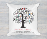 Grandchildren Family Tree Pillow With Names Gift for Grandparents, Grandkids Family Tree Linen