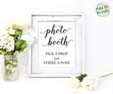 Photo Booth Sign Printable Pick A Prop and Strike A Pose
