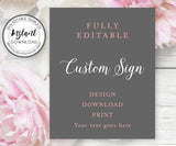 "8 x 10"" Custom Sign Editable Template for Wedding, Shower or Party"