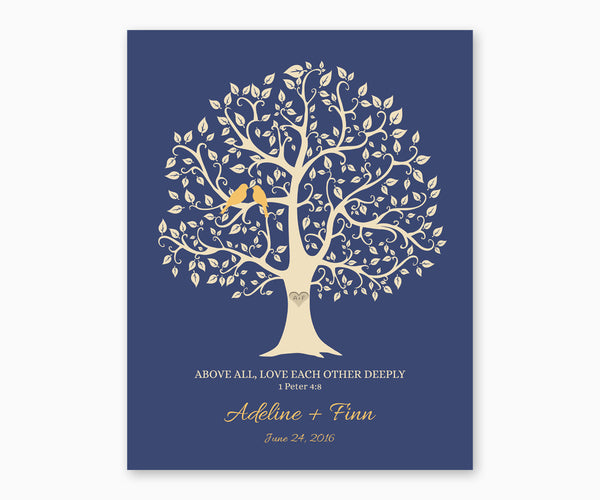 Above All, Love Each Othe Deeply, 1 Peter 4:8, Love Birds in Tree, Wedding or Anniversary Wall Art, Yellow birds
