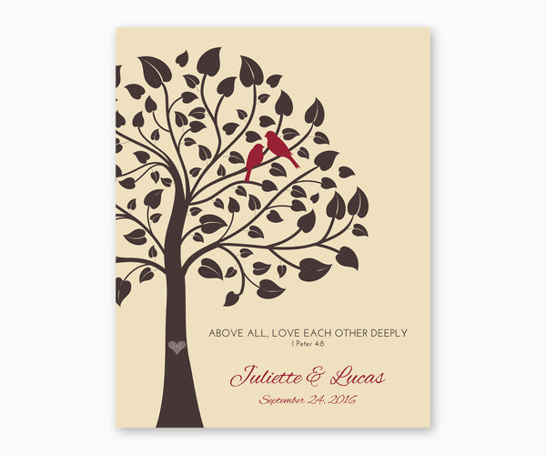 Above All, Love Each Othe Deeply, 1 Peter 4:8, Wedding or Anniversary Wall Art, cream