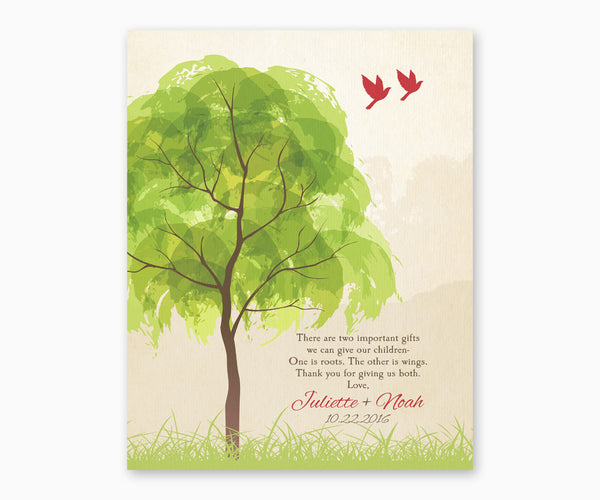 Thank You Gift for Parents, Roots and Wings Wall Art, Red Birds