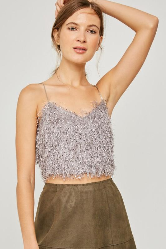 textured crop tank | olive + pepper