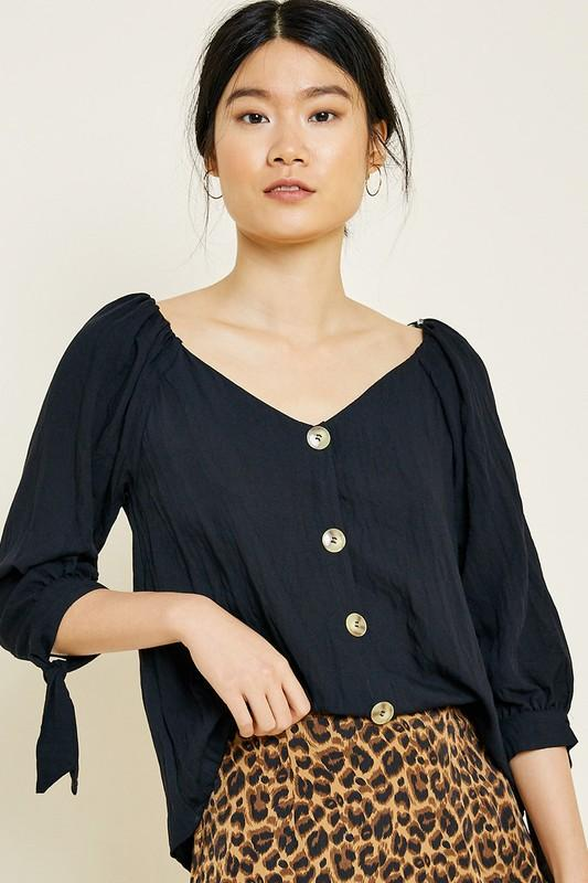 button front top | olive + pepper