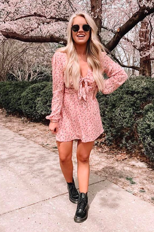 'faye' long sleeve floral tie front mini dress