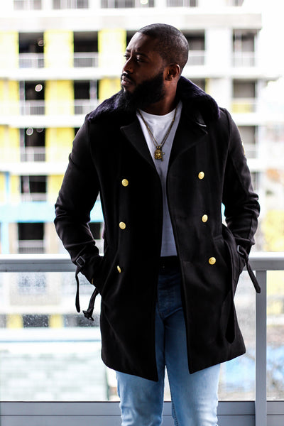 3/4 Wool Trench Coat Jacket with Fur Collar