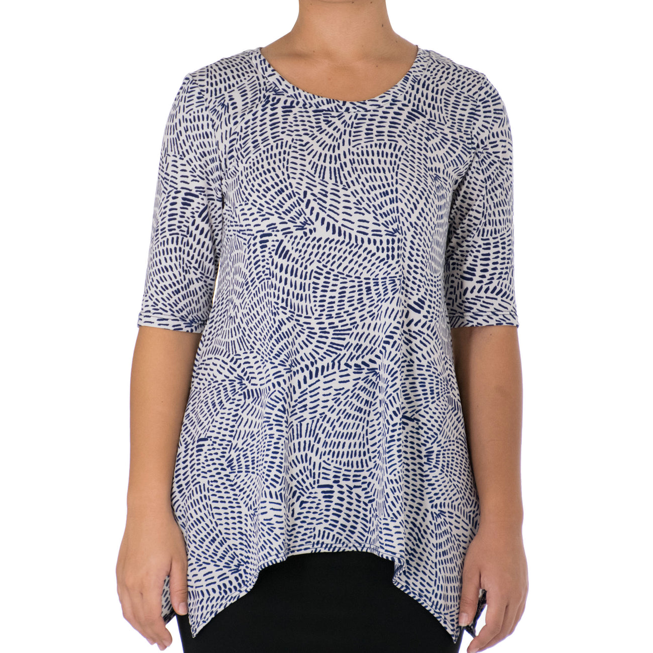 MAKANI ASYMMETRICAL KNIT TUNIC 1/2 SLEEVE