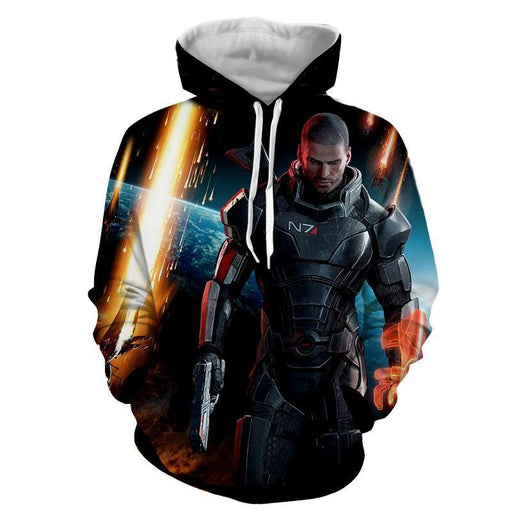 Mass Effect Captain Shepard Earth Attack Full Print Hoodie