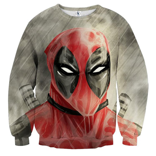 Deadpool Wet Face Portrait In The Rain Amazing Design Sweatshirt - Superheroes Gears