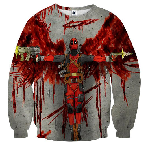 Deadpool Guns Holding Bloody Wings Dope Design Print Sweatshirt - Superheroes Gears