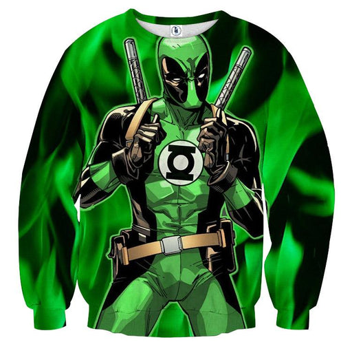 Deadpool In Green Lantern Costume Perfect Design Sweatshirt - Superheroes Gears