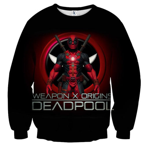 Deadpool Weapon X Origins Symbol Fashionable Full Print Sweatshirt - Superheroes Gears