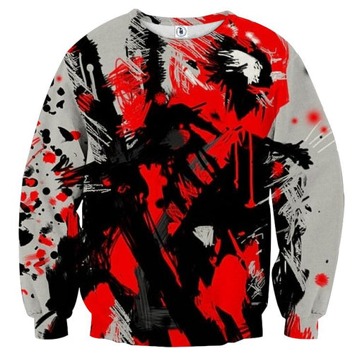 Deadpool Abstract Painting Design Stylish Winter Sweatshirt - Superheroes Gears