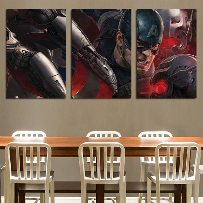 Avengers Age Of Ultron Mad Captain America 3pcs Canvas Print
