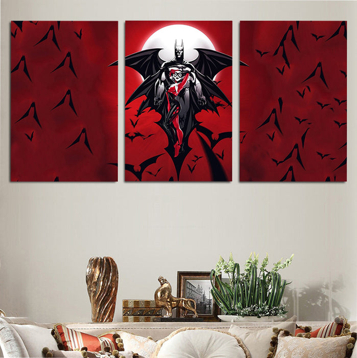 DC Batman & Sexy Harley Quinn Red 3pcs Wall Art Canvas Print