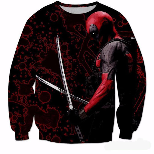 Deadpool Dual Katana Ready Fight Blood Pattern Dope Design Sweatshirt - Superheroes Gears