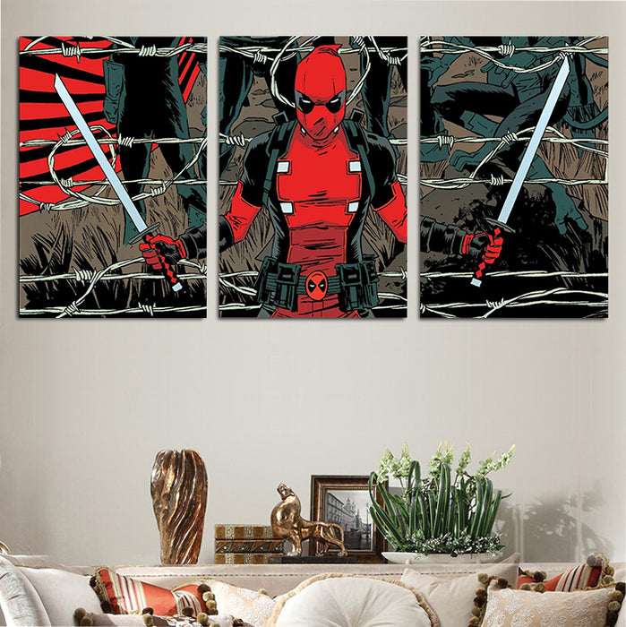 Deadpool In A Barbed Wire Fence 3pcs Wall Art Canvas Print