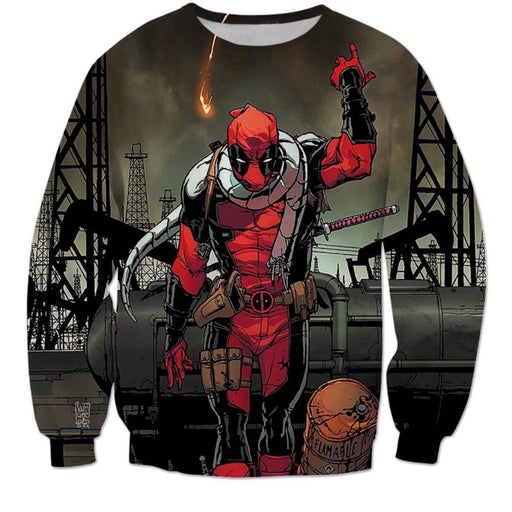 Deadpool Villain Execution Burning Fire Comic Drawing Style Cool Sweatshirt - Superheroes Gears
