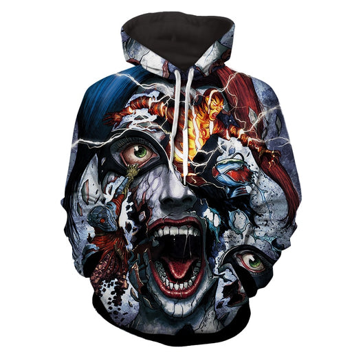Harley Quinn Face Realistic Doodle Art Design Hoodie