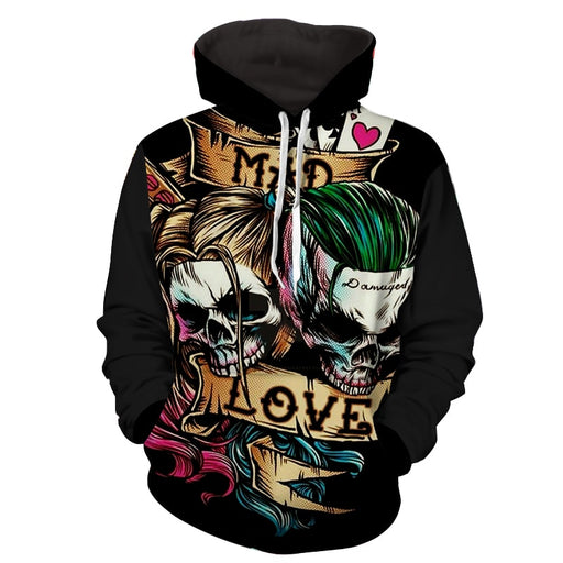 Joker Harley Quinn Skull Art Design Mad Love Full Print Hoodie