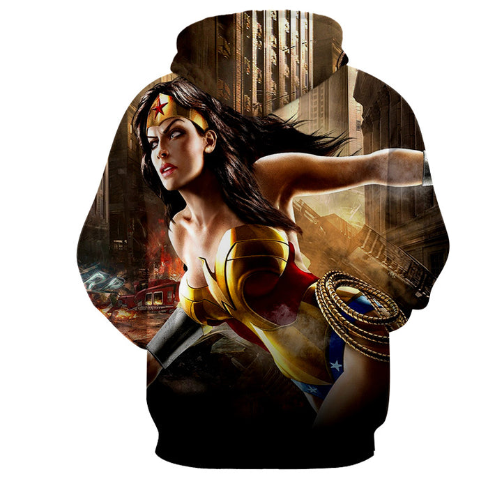 Wonder Woman Ready To Save On Messy Fight Scene Hoodie