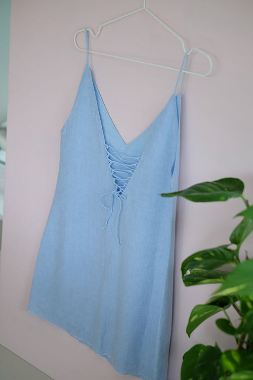 Blue Yves Lace Up Slip