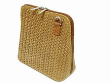 A-SHU SMALL TAUPE BEIGE GENUINE LEATHER WOVEN BAG WITH LONG SHOULDER STRAP - A-SHU.CO.UK