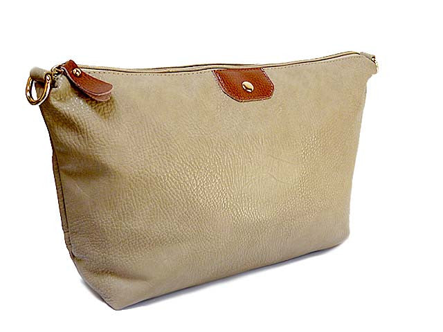 A-SHU TAUPE LEATHER EFFECT TOILETRY / TRAVEL BAG - A-SHU.CO.UK