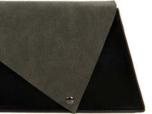 TWO-TONE FAUX SUEDE A-LINE CLUTCH BAG WITH LONG SHOULDER STRAP - BLACK
