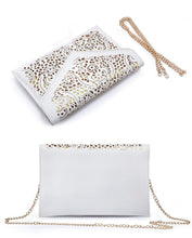 A-SHU LARGE BLUE CUT OUT ENVELOPE SHAPED CROSS-BODY CLUTCH BAG WITH CHAIN STRAP - A-SHU.CO.UK