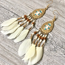 A-SHU BOHO INSPIRED CREAM LONG DROP FEATHER EARRINGS - A-SHU.CO.UK