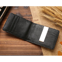 Genuine Leather Luxury Brand Men Wallet Purse Hold Bill Slim Clamp Money Holder-Justt Click
