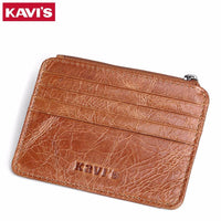 KAVIS Genuine Leather Credit Card Holder Men Women ID Case Bank Card Wallet-Justt Click