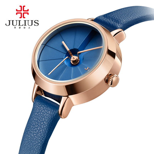 Korean Design Women's Quartz Wrist Watch Blue Leather Montre Femme 30M WaterProof Slim Ladies Thin Dial 23mm Whatch Reloj JA-979-Justt Click