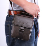 Men Genuine Leather Messenger Shoulder Cross Body Bag Fanny Waist Bags Leisure Tote Purse-Justt Click