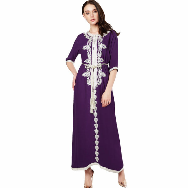 Muslim women Long sleeve Dubai Dress maxi abaya jalabiya islamic clothing robe Moroccan embroidery vintage dress 1715-Justt Click