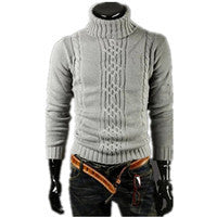 Men's Thick Warm Sweater Turtleneck Sweater Sweater Irregular Fashion Tide Models Fitted British Shipping M\L\XL\XXL-Justt Click