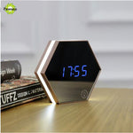 New Electronic Multifunction LED Night Light Wall Clock Mirror Digital Display Alarm Clock Snooze Light-emitting Thermometer-Justt Click